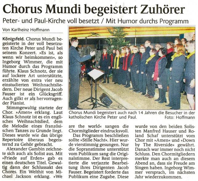 Schwabo Chorus Mundi Konzert Königsfeld am 22.11.2014