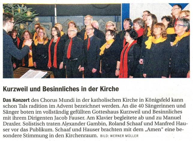 Südkurier Chorus Mundi Konzert Königsfeld am 22.11.2014